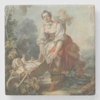 The Joys of Motherhood by Fragonard Stone Coaster
