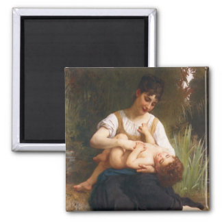 The Joys Of Motherhood by William Bougereau 2 Inch Square Magnet