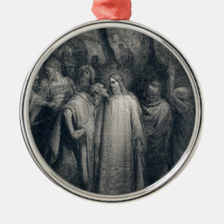 The Judas Kiss Mark 14:45 by Gustave Doré 1866 Metal Ornament