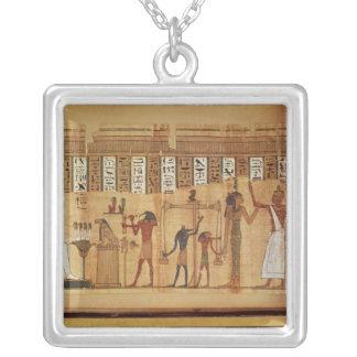 The Judgement of Osiris, detail Square Pendant Necklace