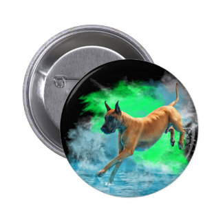 The jumping Great Dane Button