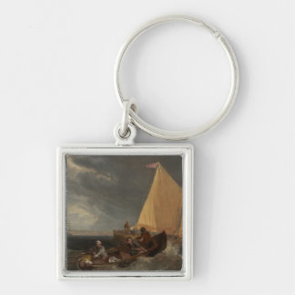 The Junction of the Thames and the Medway, 1807 Silver-Colored Square Keychain