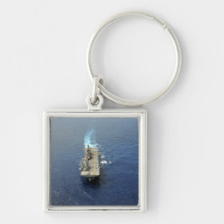 The Kearsarge Amphibious Ready Group Silver-Colored Square Keychain