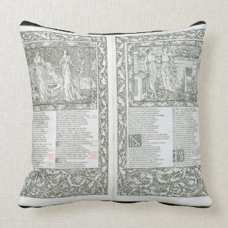 The 'Kelmscott Chaucer', published 1896 by the Kel Throw Pillow