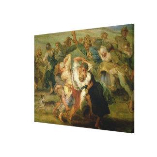 The Kermesse, detail of peasants dancing, c.1635-3 Canvas Print
