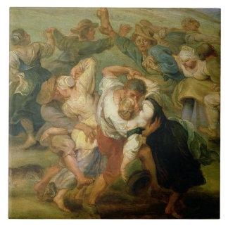 The Kermesse, detail of peasants dancing, c.1635-3 Ceramic Tile