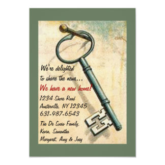 """The Key - Moving Announcement 5"""" X 7"""" Invitation Card"""