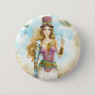 'The Key', Steampunk girl. Button
