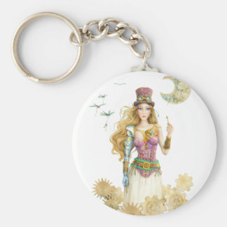 """""""The Key"""" Steampunk Girl By Scot Howden Keychain"""