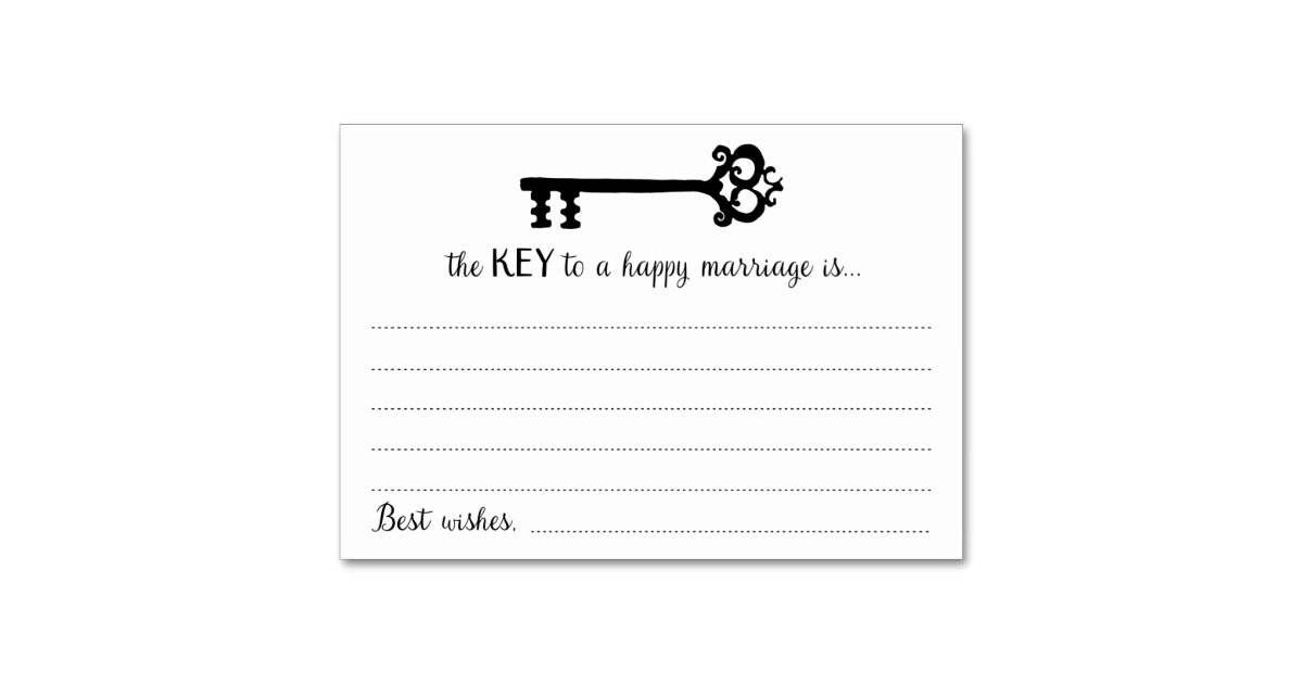 The Key To A Happy Marriage Cards Table Zazzle