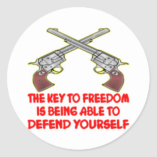 The Key To Freedom Is Able To Defend Yourself Classic Round Sticker