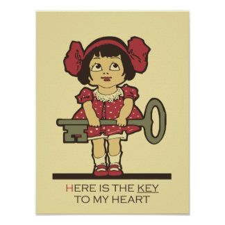 The key to my heart, cute girl, love poster