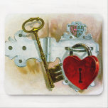 The Key to my Heart~Vintage Tobacco Label Mouse Pad