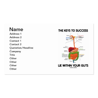 The Keys To Success Lie Within Your Guts Business Cards