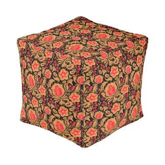 The Khokhloma Kulture Pattern Cube Pouf