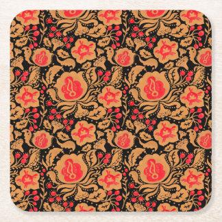 The Khokhloma Kulture Pattern Square Paper Coaster
