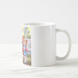 The King and Queen of Hearts and the Cheshire Cat Classic White Coffee Mug