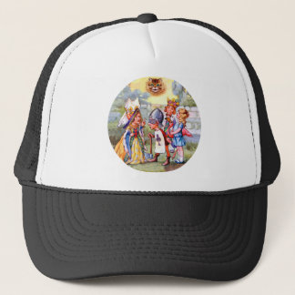The King and Queen of Hearts and the Cheshire Cat Trucker Hat