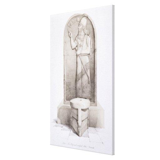 The King and Sacrificial Altar, Nimrud, plate 4 fr Canvas Print