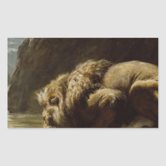 The King Drinks by Briton Riviere Rectangular Sticker