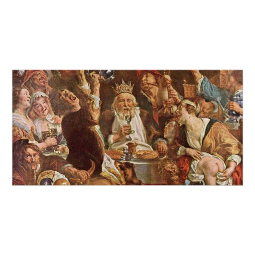 The King Drinks By Jordaens Jacob (Best Quality) Photo Card Template