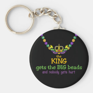 The King gets the BIG beads Basic Round Button Keychain