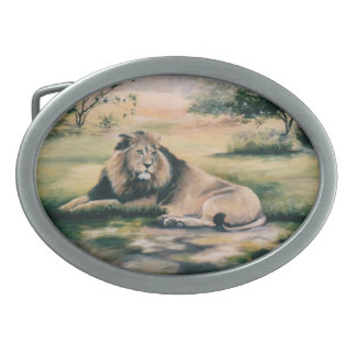 The King Lion Oval Belt Buckle