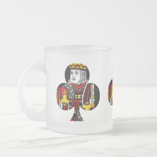 The King of Clubs Frosted Glass Coffee Mug