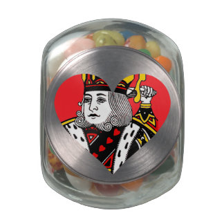 The King of Hearts Glass Candy Jars