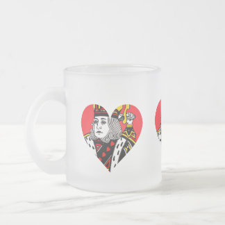 The King of Hearts Frosted Glass Coffee Mug