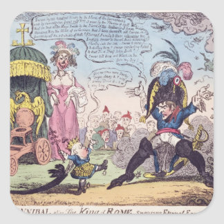 The King of Rome, 1814 - cartoon showing Napoleon Square Sticker