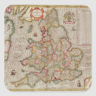 The Kingdome of England, engraved by Jodocus Square Sticker