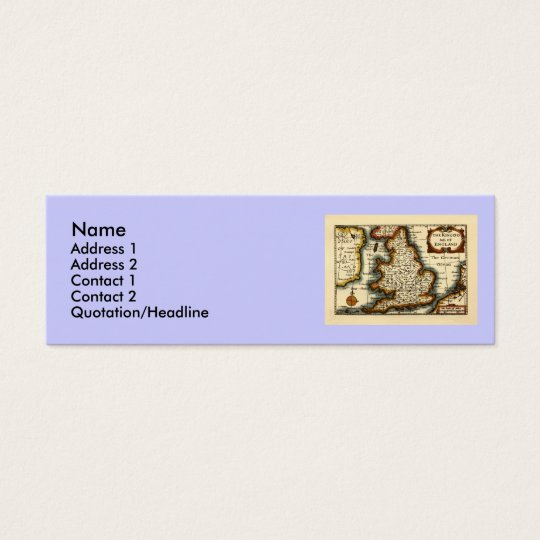 The Kingdome of England Historic Map Mini Business Card