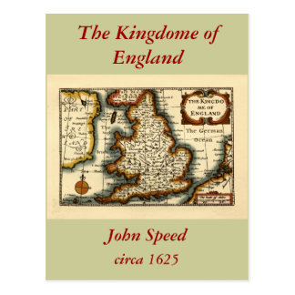 The Kingdome of England Historic Map Postcard