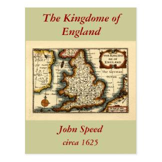 The Kingdome of England Historic Map Postcard