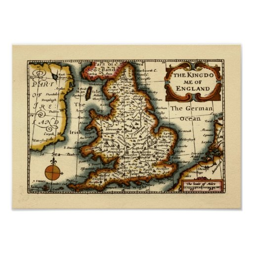 The Kingdome of England Historic Map Poster