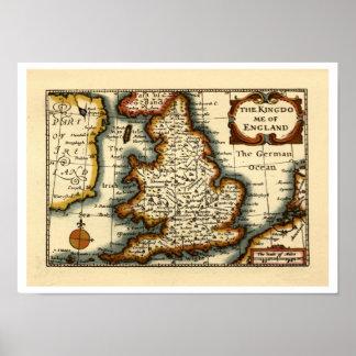 The Kingdome of England Historic Map Print