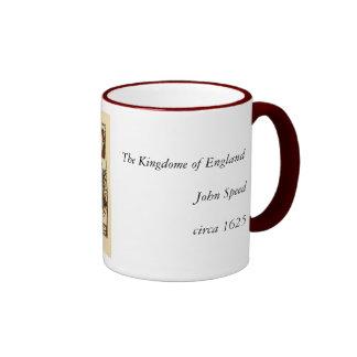 The Kingdome of England Historic Map Ringer Mug
