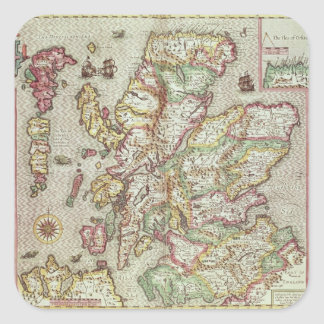 The Kingdome of Scotland, engraved by Jodocus Square Sticker
