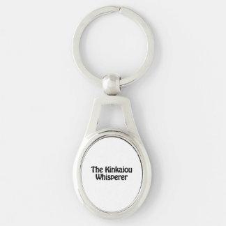 the kinkajou whisperer Silver-Colored oval metal keychain