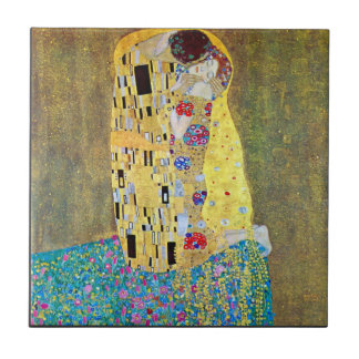 The Kiss 2 by Gustav Klimt Small Square Tile