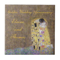 The Kiss Art Nouveau Golden Wedding Anniversary ti Ceramic Tile