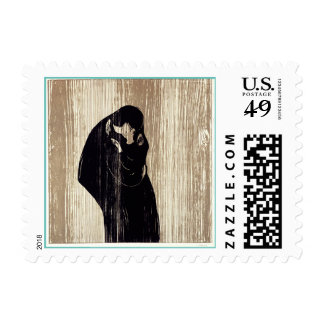 The kiss by Edvard Munch lithography, Stamp