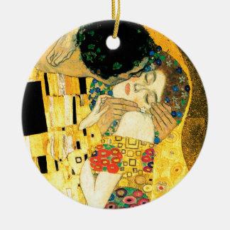 The Kiss by Gustav Klimt Art Nouveau Ceramic Ornament