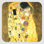 The Kiss by Gustav Klimt Art Nouveau Square Sticker