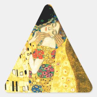 The Kiss by Gustav Klimt Art Nouveau Triangle Sticker