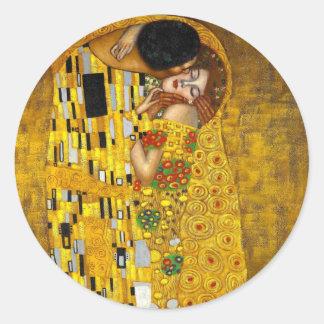 The Kiss by Gustav Klimt Classic Round Sticker