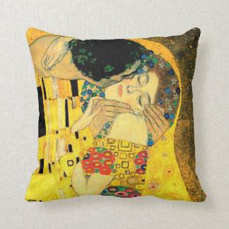 The Kiss by Gustav Klimt Fine Art Pillow