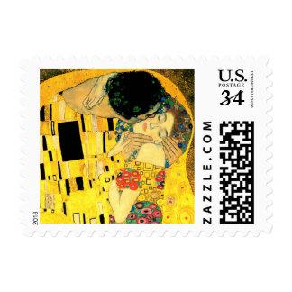 The Kiss by Gustav Klimt Fine Art Postage Stamp
