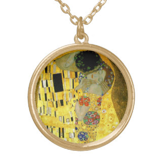 The Kiss by Gustav Klimt Round Pendant Necklace